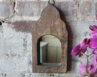 Small Mirror Reclaimed Vintage Indian Door Panel Wall Hanging Art Distressed Moroccan Mirror Mediterranean Decor Turkish Interior