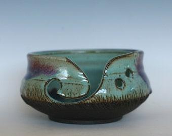 Purple and Turquoise Yarn Bowl, knitting bowl, pottery yarn bowl, pottery knitting bowl, handmade ceramic yarn bowl, READY to Ship