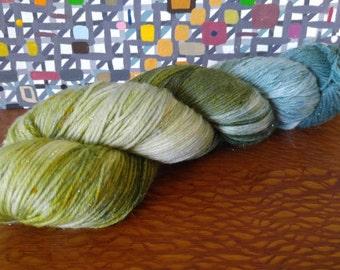 Hand Dyed Fingering Weight Superwash Merino Nylon Stellina Sock Yarn- Sparkle Evergreen 462 yards