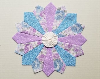 4 Dresden Plate Patchwork Quilt Blocks 10 inches Blue and Lavender Shabby Chic Rose Fabric