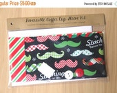 final CLEARANCE DIY Coffee Cup Sleeve Sewing Kit - Stashing Through the Snow and Stripes - Ready to Ship