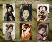 Japanese Geisha Collage Sheet, Geisha ATC Collage Sheets, Digital Printable Collage Sheet