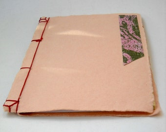 Japanese Stab Stitch Notebook, Pink and Gold Pocket Notebook, Kangxi Notebook