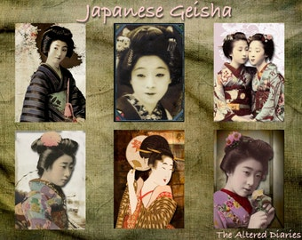 Japanese Geisha Collage Sheet, Geisha ATC Collage Sheets, Digital Printable Collage Sheet