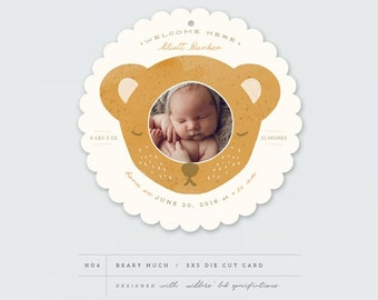 INSTANT DOWNLOAD  Beary Much Birth Announcement Card