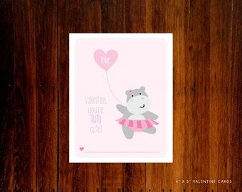 Valentine Printable Cards - Ballerina Hippo Tutu Cute  instant Download PDF
