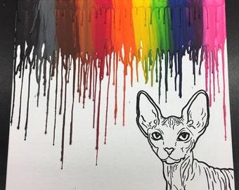 Sphynx cat crayon art painting