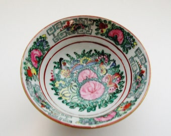 Petite Famille Rose Bowl, Chinoiserie Decor, Ring Holder, Rose Mandarin Trinket Bowl, Japanese Porecelain Ware