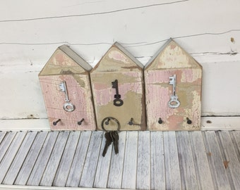 ONE Beach Hut Key Holder Hook Rack Beach Lake House Coastal Art Decor by CastawaysHall - Pinks - READY To SHIP Limited Edition Mix and Match