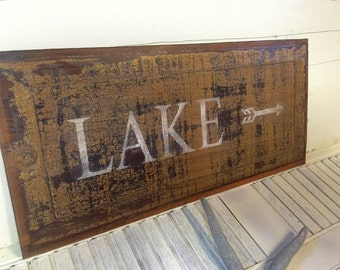 LAKE Sign Wall Art Door Panel Beach House Decor One of a Kind by CastawaysHall - READY To SHIP