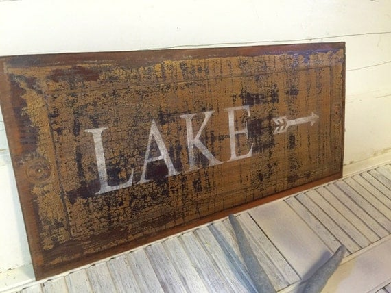 Wall Decor For Lake House : Lake sign wall art door panel beach house decor one of a kind