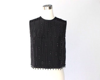 1950s Beaded Sleeveless Top // 50s Vintage Embellished Black Shell Blouse // Small