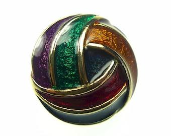Enamel button, gold tone metal multi colored, 1 pc