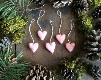 Felt heart ornaments, set of 5, Light Pink, miniature pink wool heart ornaments for christmas tree, valentine decor, valentine gift under 30