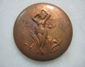 Greco Roman Nude Swamp Nymph Medallion; Older Vintage Art Nouveau Die Struck Patina Brass, Embellishment, Original Finding, 25mm, 1 Pc.