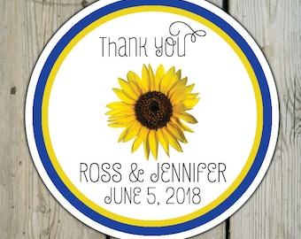 Round Custom Sunflower Favor Labels / Sunflower Stickers - Sunflower Wedding Favor Stickers / Sunflower Shower Labels / Birthday Stickers