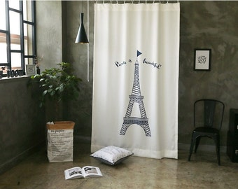 The Eiffel Tower Black Out Wide Fabric Panel for Curtains (59 inches x 98 inches) 76428