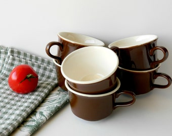 Vintage Restaurant Ware Coffee Cups. Brown Tea Cups. Kitchen Decor. Kitchen Display. Rustic Tableware. Country French Farmhouse Chic.
