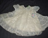 Sheer White Nylon Puffsleeved Vintage 1950's NWT Baby Girl EASTER Dress