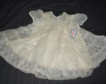 Sheer White Nylon Puffsleeved Vintage 1950's NWT Baby Girl Dress