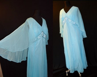 Flyaway Beaded Sky Blue Chiffon Vintage 1970's MAXI Party Dress M L