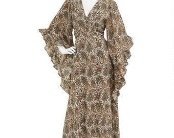 15% OFF // Vintage 70's Earthy Paisley Print RUFFLED Trim Angel Sleeves Fitted Empire Waist Hippie Bohemian Festival Maxi DRESS