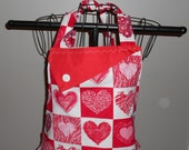 Hearts and Flowers Blocks Women's Apron