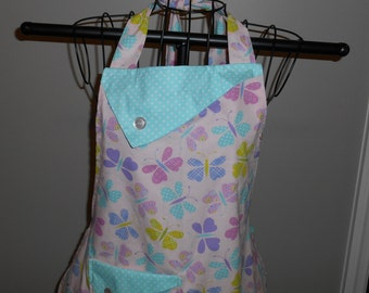 Butterflies and Aqua Polka Dots Women's Apron