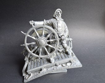 """Vintage Franklin Mint Nautical Pewter Sculpture """"Into the Storm"""" by Peter Jackson – Beautiful and Interesting Details"""