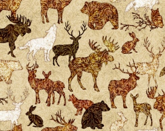 Quilting Treasures Woodland Spirit Rust Lodge Animals Moose Bear Free Shipping 1/2 Yard Cotton Fabric 24364 -T