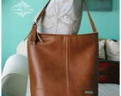 Recycled Leather Bonnie Bag - Caramel Leather - All leather bag - Bucket Bag - cramel recycled leather bag -