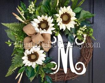Front Door Wreaths, Summer Door Wreaths, Fall Wreath for Door, Wreaths, Grapevine Wreath, House Warming Gift, Door Wreaths, Fall Wreaths