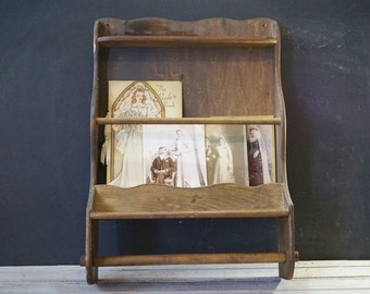 Wooden Magazine and Towel Rack