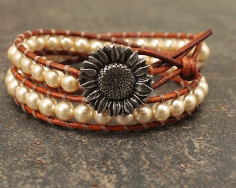 Golden Yellow Sunflower Bracelet Boho Chic Beaded Leather Wrap Bracelet Pale Gold Pearl and Leather Sunflower Jewelry
