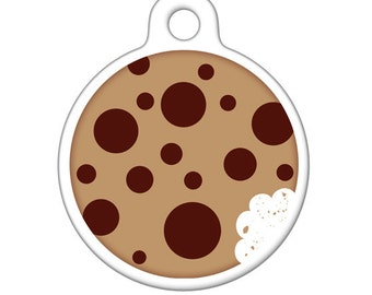 Pet ID Tag - Chocolate Chip Cookie Pet Tag, Dog Tag, Cat Tag, Bag Tag, Child ID Tag