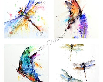 BUTTERFLY & DRAGONFLY Watercolor Art Coaster Set by Dean Crouser