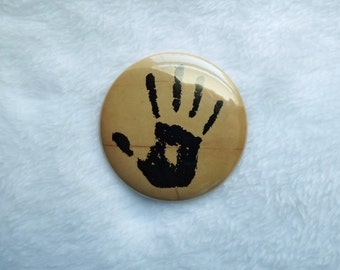 "Dark Brotherhood Hand 2.25"" Elder Scrolls Oblivion Inspired Pin Back Button Skyrim"