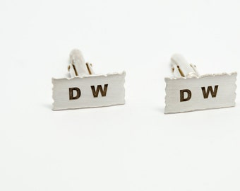 Handmade customised silver initial/date cufflinks