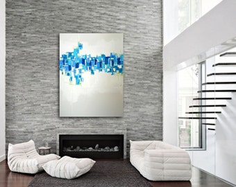 "Large 36"" x 36"" Original Abstract Painting - Contemporary Wall Art Decor - blue and white painting - geometric wall art - modern art"