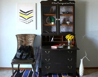 Black & White Vintage Secretary Desk / Hutch
