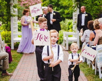 Custom Wedding Signs Package (Set of 4) Small Flower Girl Banners   Custom Color Phrase Wedding Flags Nickname Customized 1253 CC