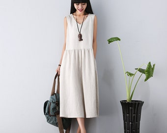 V Neck Maxi Dress - Summer Dress in Rice White- Linen Sundress for Women-Sleeveless (LYQ609)