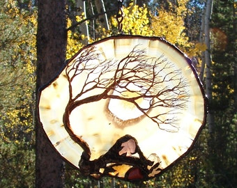 """Wire Tree of Life sculpture, Windy Grove, natural Brazil included Quartz Agate, nature inspired gemstone art, unique Autumn decor gift, 7"""""""