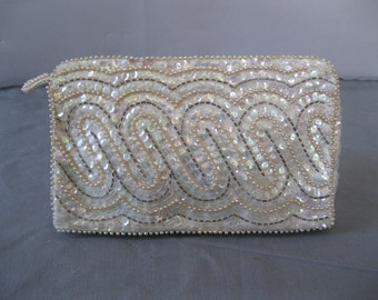 White and Silver Beaded Clutch - Vintage Bridal Purse - 1950s Evening Bag- Gifts for Her