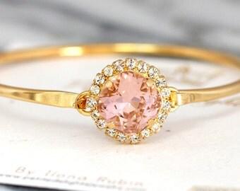 Blush Bridal Bracelet, Bridesmaids Bracelets, Swarovski Blush Crystal Bracelet,Rose Gold Bracelet,Bridal Cuff Bracelet, Crystal Bracelet