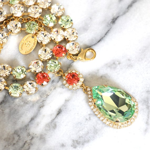 Coral, mint, & gold statement necklace