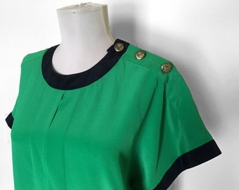 SHOP SALE! Vintage Bright Green Shirt / Emerald Green / Black / Top / Blouse / Color Blocked