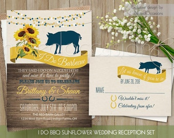 I DO BBQ Wedding Reception Invitation Printable I Do BBQ Invitation,  Sunflower Barbecue Country Western