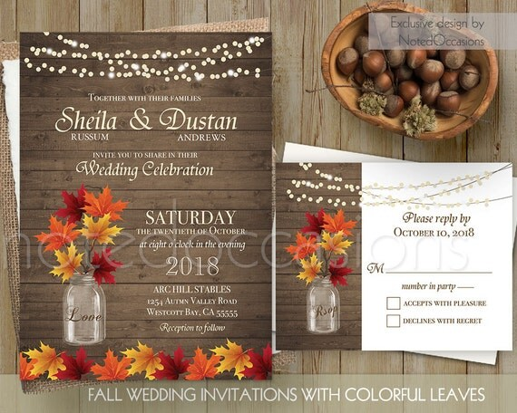 Rustic Fall Wedding Invitation Set Fall By NotedOccasions