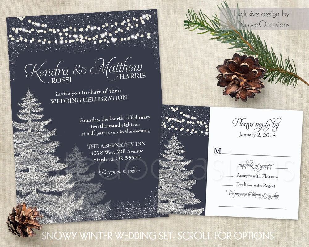 Gifts Using Wedding Invitation: Winter Wedding Invitation Template Set Rustic Christmas